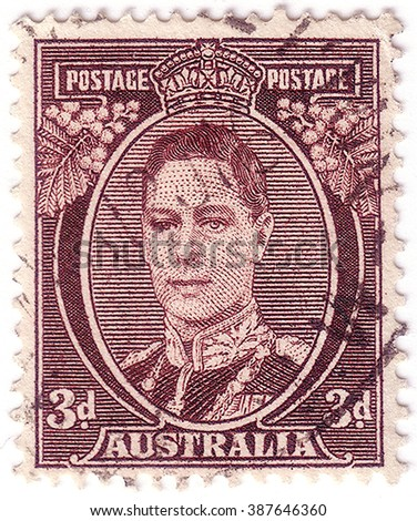 AUSTRALIA - CIRCA 1942: A stamp printed in Australia shows portrait of King George VI, the series King George VI, circa 1942