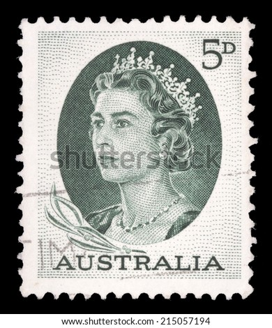 AUSTRALIA - CIRCA 1963: A stamp printed in Australia shows portrait of Queen Elizabeth II, circa 1963