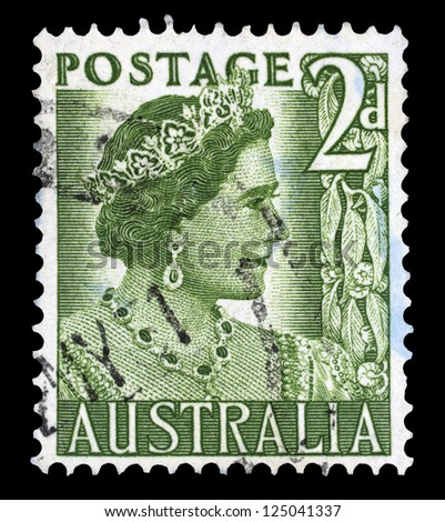 "AUSTRALIA - CIRCA 1950: A stamp printed in Australia shows Portrait of Queen Elizabeth II, without inscriptions, from the series ""Queen Elizabeth II"", circa 1950"