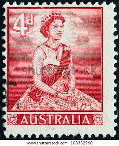 AUSTRALIA - CIRCA 1959: A stamp printed in Australia shows Queen Elizabeth II, circa 1959. - stock photo