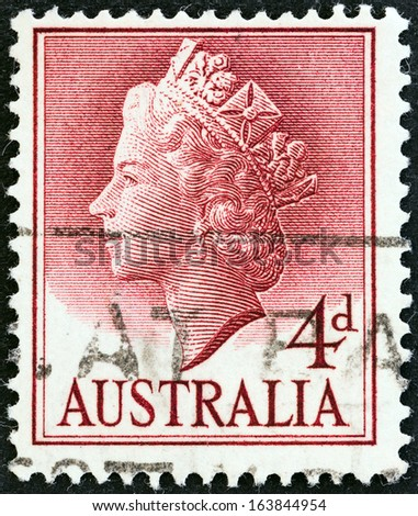 AUSTRALIA - CIRCA 1955: A stamp printed in Australia shows Queen Elizabeth II, circa 1955.  - stock photo