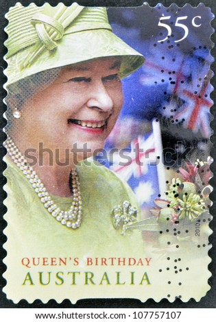 AUSTRALIA - CIRCA 2010: A stamp printed in Australia shows queen,s birthday, circa 2010