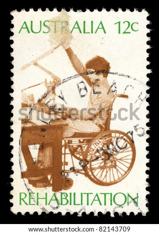 AUSTRALIA - CIRCA 1972: A stamp printed in Australia shows Rehabilitation, circa 1972
