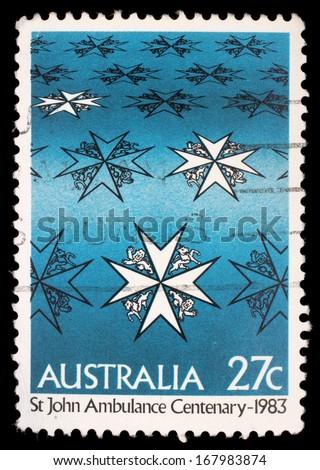 AUSTRALIA - CIRCA 1983: A stamp printed in Australia shows st john ambulance centenary, circa 1983 - stock photo