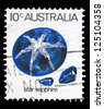"AUSTRALIA - CIRCA 1973: A stamp printed in Australia shows Star sapphire, with the same inscriptions, from the series ""Marine Life and Gemstones"", circa 1973 - stock photo"