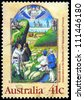 "AUSTRALIA - CIRCA 1989: A Stamp printed in AUSTRALIA shows the ""Annunciation to the Shepherds"", from the Wharncliffe Hours, series, circa 1989 - stock photo"