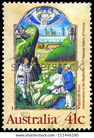 """AUSTRALIA - CIRCA 1989: A Stamp printed in AUSTRALIA shows the """"Annunciation to the Shepherds"""", from the Wharncliffe Hours, series, circa 1989 - stock photo"""