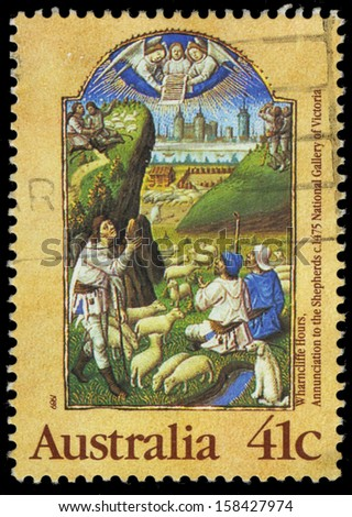AUSTRALIA - CIRCA 1989: A Stamp printed in AUSTRALIA shows the Annunciation to the Shepherds, from the Wharncliffe Hours, series, circa 1989 - stock photo