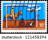 AUSTRALIA - CIRCA 1978: A Stamp printed in AUSTRALIA shows the Beechcraft Baron landing, Royal Flying Doctor Service, 50th anniversary, circa 1978 - stock photo