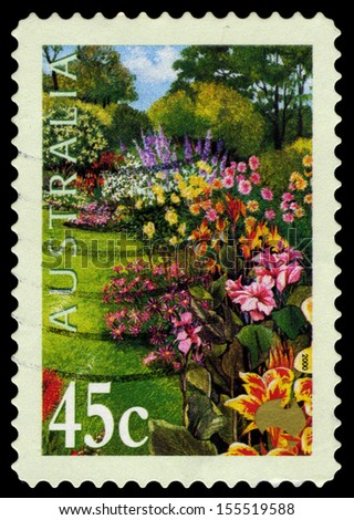 AUSTRALIA - CIRCA 2000: A Stamp printed in Australia shows the Canna X generalis varieties, Gardens series, circa 2000 - stock photo