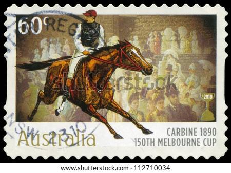 AUSTRALIA - CIRCA 2010: A Stamp printed in AUSTRALIA shows the Carbine, 1890 Winner, 150th Melbourne Cup issue, circa 2010 - stock photo