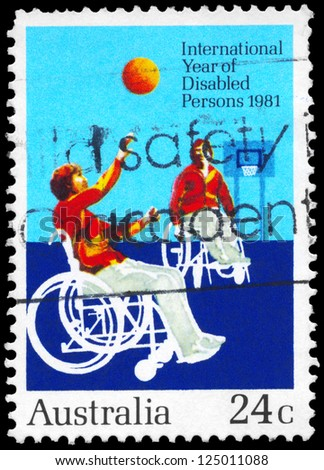 AUSTRALIA - CIRCA 1981: A Stamp printed in AUSTRALIA shows the Disabled Persons, International Year, circa 1981 - stock photo