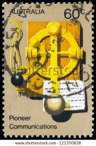 AUSTRALIA - CIRCA 1972: A Stamp printed in AUSTRALIA shows the Early Morse Key, Australian Pioneer Life, series, circa 1972 - stock photo