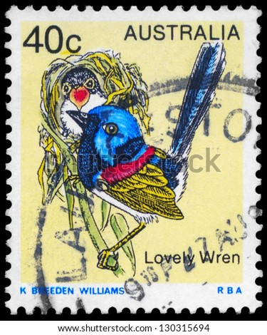 AUSTRALIA - CIRCA 1979: A Stamp printed in AUSTRALIA shows the Lovely Wren, Birds series, circa 1979