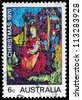 AUSTRALIA - CIRCA 1970: A stamp printed in AUSTRALIA shows the Madonna and Child, by William Beasley, Christmas issue, circa 1970 - stock photo