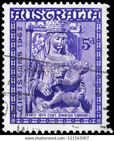 AUSTRALIA - CIRCA 1962: A Stamp printed in AUSTRALIA shows the Madonna and Child, Christmas issue, circa 1962