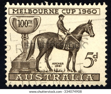 AUSTRALIA - CIRCA 1960: A Stamp printed in Australia, shows the Melbourne Cup and Archer, 1861 Winner, Centenary issue, circa 1960 - stock photo