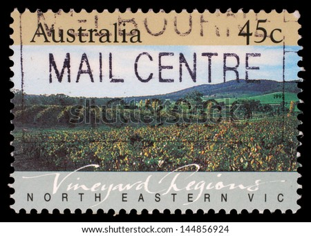 AUSTRALIA - CIRCA 1992: A Stamp printed in AUSTRALIA shows the North Eastern Vic, Vineyard Regions, series, circa 1992 - stock photo