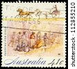 AUSTRALIA - CIRCA 1990: A Stamp printed in AUSTRALIA shows the Panning for Gold, Gold Rush series, circa 1990 - stock photo