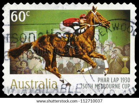 AUSTRALIA - CIRCA 2010: A Stamp printed in AUSTRALIA shows the Phar Lap, 1930 Winner, 150th Melbourne Cup issue, circa 2010