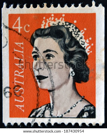 AUSTRALIA - CIRCA 1966: A Stamp printed in Australia shows the portrait of a Queen Elizabeth II, circa 1966  - stock photo
