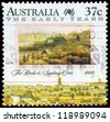 AUSTRALIA - CIRCA 1988: A Stamp printed in AUSTRALIA shows the Rocks and Sydney Cove, 1800, an aquatint engraving by Edward Dayes (1763-1804), series, circa 1988 - stock photo
