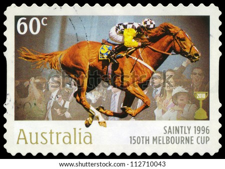 AUSTRALIA - CIRCA 2010: A Stamp printed in AUSTRALIA shows the Saintly, 1896 Winner, 150th Melbourne Cup issue, circa 2010