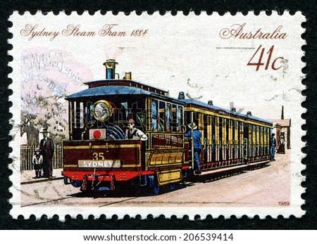 AUSTRALIA - CIRCA 1989: A Stamp printed in AUSTRALIA shows the Steam Tram, Sydney, 1884, series, circa 1989 - stock photo