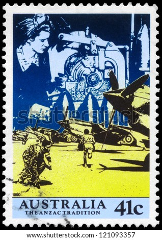 AUSTRALIA - CIRCA 1990: A Stamp printed in AUSTRALIA shows the Women working in Factories, Aircraft at the ready, Scenes from WW II, ANZAC series, circa 1990