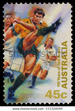 AUSTRALIA - CIRCA 1999: A stamp printed in Australia shows 100 years of Test rugby, circa 1999 - stock photo