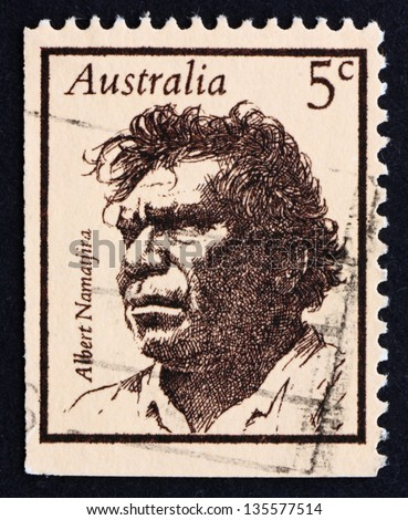 AUSTRALIA - CIRCA 1968: a stamp printed in the Australia shows Albert Namatjira, Aborigine, Artist, Painter, Famous Australians, circa 1968 - stock photo