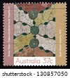 AUSTRALIA - CIRCA 1988: a stamp printed in the Australia shows Bush Potato Country, Aboriginal Painting from Papunya Settlement, circa 1988 - stock photo