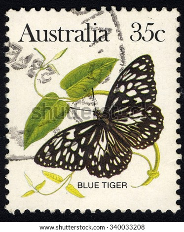AUSTRALIA - CIRCA 1983: A stamp printed in the Australia shows Butterfly Blue Tiger (Danaus Hamata), Butterfly series, circa 1983 - stock photo