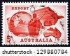 AUSTRALIA - CIRCA 1963: a stamp printed in the Australia shows Globe, Ship, Plane and Map of Australia, Importance of Exports to Australian Economy, circa 1963 - stock photo