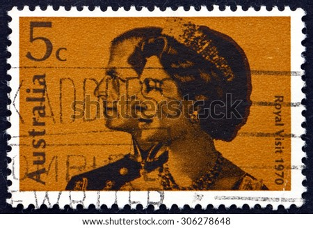 AUSTRALIA - CIRCA 1970: a stamp printed in the Australia shows Queen Elizabeth II and and Prince Philip, Royal Visit to Australia, circa 1970 - stock photo