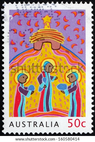 AUSTRALIA - CIRCA 2003: a stamp printed in the Australia shows Three Wise Men, Christmas, circa 2003 - stock photo
