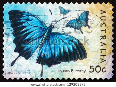 AUSTRALIA - CIRCA 2003: a stamp printed in the Australia shows Ulysses Butterfly, Papilio Ulysses, Insect, circa 2003 - stock photo