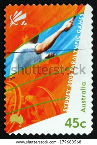 AUSTRALIA - CIRCA 2000: a stamp printed in the Australia shows Wheelchair Tennis, 2000 Paralympics, Sydney, circa 2000 - stock photo