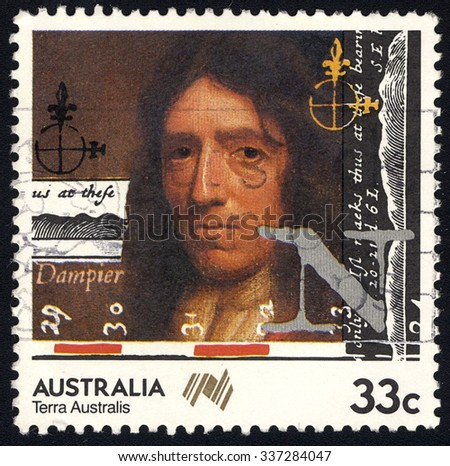 AUSTRALIA - CIRCA 1985: A stamp printed in the Australia shows William Dampier, British Explorer and Australia First Natural Historian, 200 years of colonization of Australia series, circa 1985