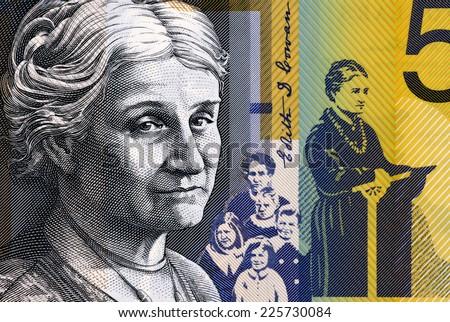 AUSTRALIA - CIRCA 2009: Edith Cowan (1861-1932) on 50 Dollars 2009 from Australia. Australian politician, social campaigner and the first woman elected to Australian parliament. - stock photo
