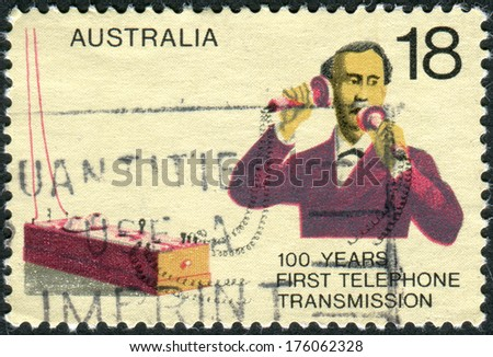 """AUSTRALIA - CIRCA 1976: Postage stamp printed in Australia, dedicated to Centenary of first telephone call by Alexander Graham Bell, shows """"William's Coffin"""" and Telephone, circa 1976 - stock photo"""