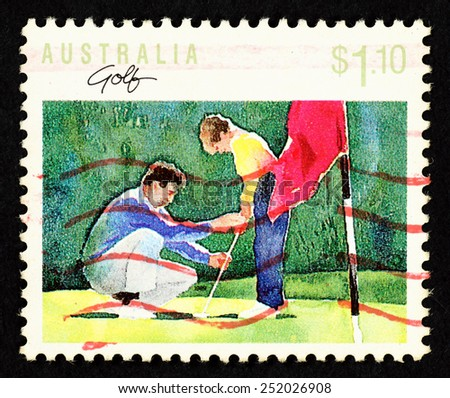 AUSTRALIA - CIRCA 1989: Postage stamp printed in Australia with image of a coach and a boy golf player. - stock photo