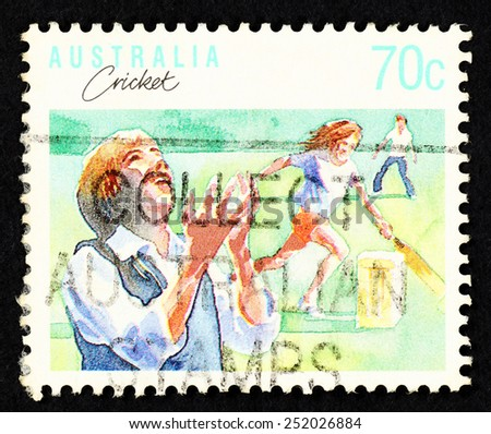 AUSTRALIA - CIRCA 1989: Postage stamp printed in Australia with image of cricket players.  - stock photo