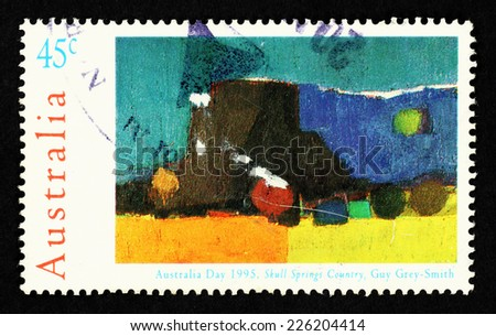 AUSTRALIA - CIRCA 1995: Postage stamp printed in Australia with image of the artwork by Guy Grey-Smith titled Skull Springs Country to commemorate Australia Day 1995.   - stock photo