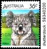 AUSTRALIA - CIRCA 1990s: A stamp printed in Australia shows Koala, circa 1990s - stock photo