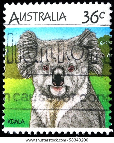 AUSTRALIA - CIRCA 1990s: A stamp printed in Australia shows Koala, circa 1990s - stock photo