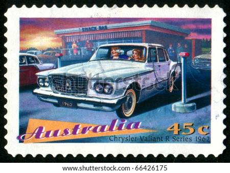 AUSTRALIA - CIRCA 1997: stamp printed by Australia, shows Classic Cars, Chrysler Valiant, circa 1997 - stock photo