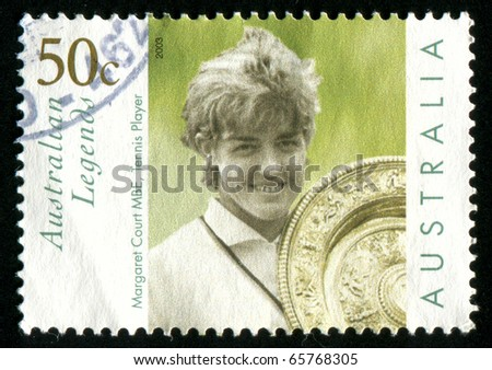 AUSTRALIA - CIRCA 2003: stamp printed by Australia, shows Margaret Court with Wimbledon trophy, circa 2003