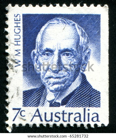 AUSTRALIA - CIRCA 1971: stamp printed in Australia, shows William Morris Hughes, circa 1971