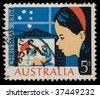AUSTRALIA - CIRCA 1964: Vintage canceled postage stamp with Christmas nativity illustration. - stock photo